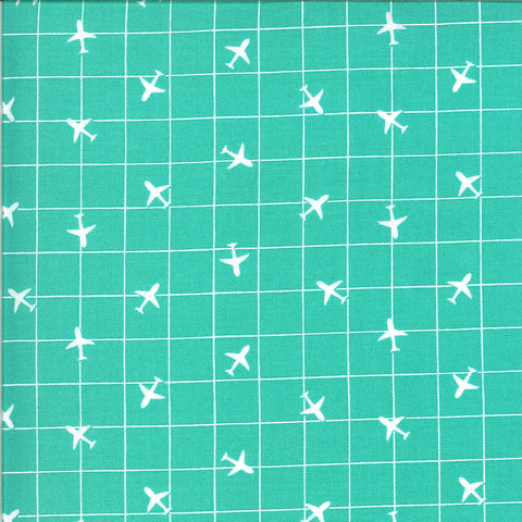 On the Go You're on the Radar 20726 Jet Stream - Moda Fabrics - Grid Geometric Airplanes Planes Juvenile Turquoise - Quilting Cotton Fabric
