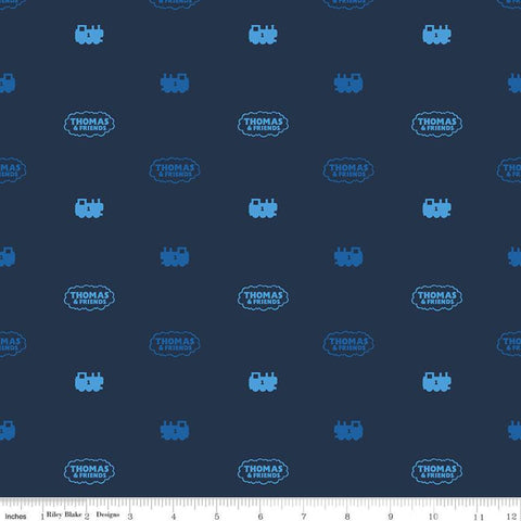 All Aboard with Thomas and Friends Silhouette C11005 Navy - Riley Blake Designs - Trains Engines Logo Blue Juvenile - Quilting Cotton