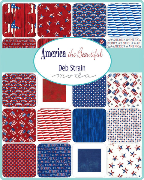America the Beautiful 2.5-Inch Jelly Roll Rolie Polie 40 pieces - 19980 - Moda Fabrics - Precut Bundle - Patriotic - Quilting Cotton Fabric