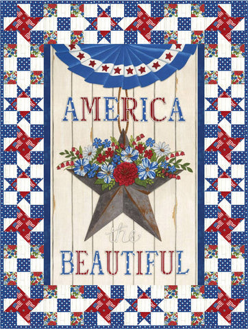 America the Beautiful Wall Hanging and Table Runner Boxed Kit - Moda Fabrics - Patterns Fabric - Patriotic - Quilting Cotton Fabric