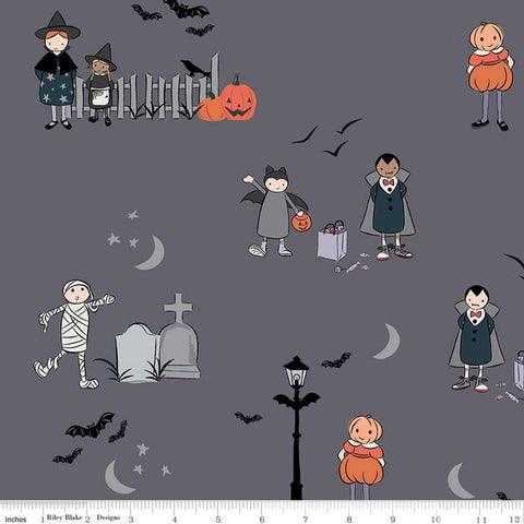 Spooky Hollow Main SC10570 Charcoal SPARKLE - Riley Blake Designs - Halloween Silver SPARKLE Gray - Quilting Cotton Fabric