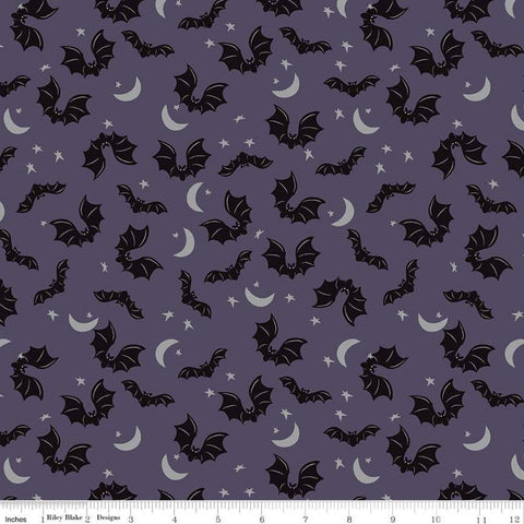 SALE Spooky Hollow Bats SC10572 Eggplant SPARKLE - Riley Blake Designs - Halloween Moon Stars Silver SPARKLE Purple - Quilting Cotton Fabric