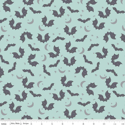Spooky Hollow Bats SC10572 Scuba SPARKLE - Riley Blake Designs - Halloween Moon Stars Silver SPARKLE Blue - Quilting Cotton Fabric
