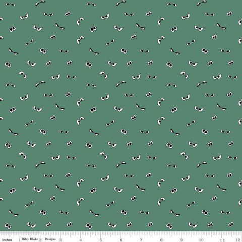Spooky Hollow Eyeballs GC10576 Ghoul GLOW in the DARK - Riley Blake Designs - Halloween Eyes Green - Quilting Cotton Fabric