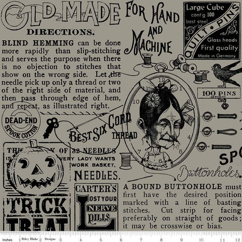 SALE Old Made Text C10594 Gray - Riley Blake Designs - Halloween Sewing Words Images -  Quilting Cotton Fabric