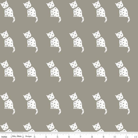 SALE Old Made Cat Stamp C10599 Gray - Riley Blake Designs - Halloween Sewing Cats -  Quilting Cotton Fabric