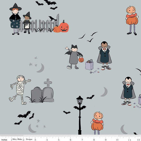Spooky Hollow Main SC10570 Gray SPARKLE - Riley Blake Designs - Halloween Trick-or-Treaters Silver SPARKLE - Quilting Cotton Fabric