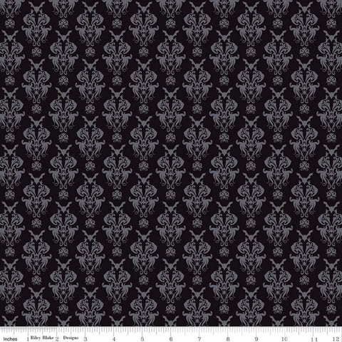 SALE Spooky Hollow Damask C10571 Black - Riley Blake Designs - Halloween Bats Spiders Spooky Eyes -  Quilting Cotton Fabric