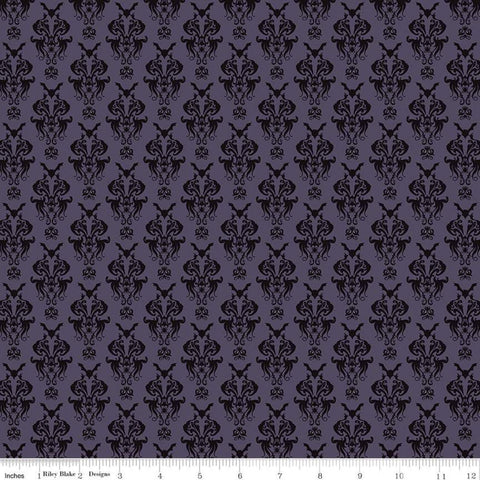 SALE Spooky Hollow Damask C10571 Eggplant - Riley Blake Designs - Halloween Bats Spiders Spooky Eyes Purple -  Quilting Cotton Fabric