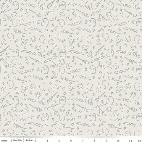 Spooky Hollow Icons SC10574 Eggshell SPARKLE - Riley Blake Designs - Halloween Pumpkins Ghosts Silver SPARKLE - Quilting Cotton Fabric