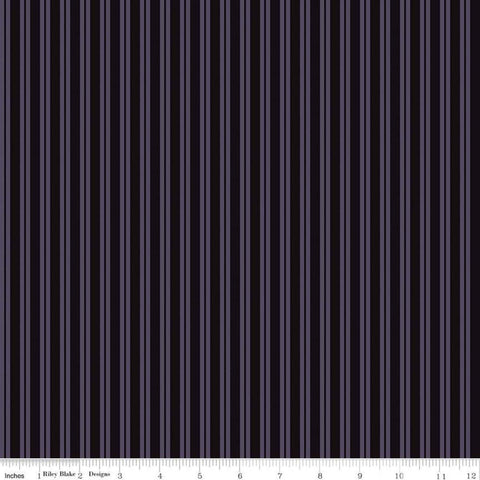Spooky Hollow Stripes C10577 Eggplant - Riley Blake Designs - Halloween Purple Black Stripe Striped - Cotton Fabric