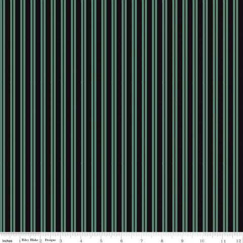 Spooky Hollow Stripes C10577 Ghoul - Riley Blake Designs - Halloween Green Black Stripe Striped - Cotton Fabric
