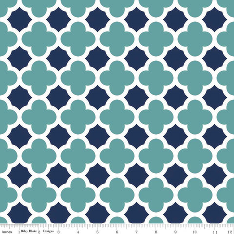 CLEARANCE Quatrefoil Teal Navy by Riley Blake Designs - Jersey KNIT cotton lycra spandex stretch fabric - by the yard