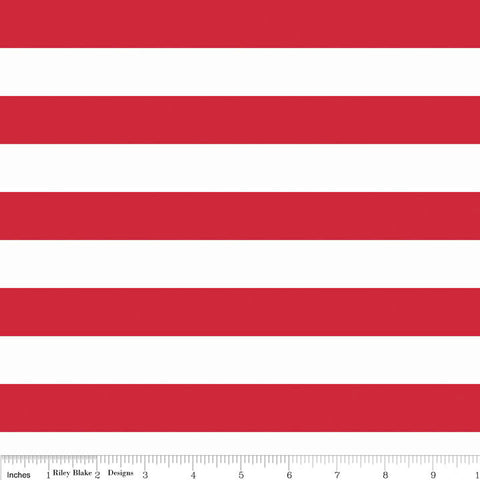"Red and White 1"" One Inch Stripe by Riley Blake Designs - Patriotic - Jersey KNIT Cotton Lycra Stretch Fabric"