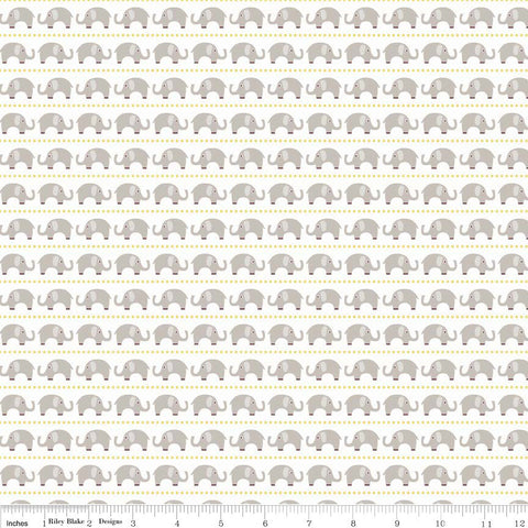 Oh Boy Elephants Gray - Riley Blake Designs - Jersey KNIT cotton lycra stretch fabric - choose your cut