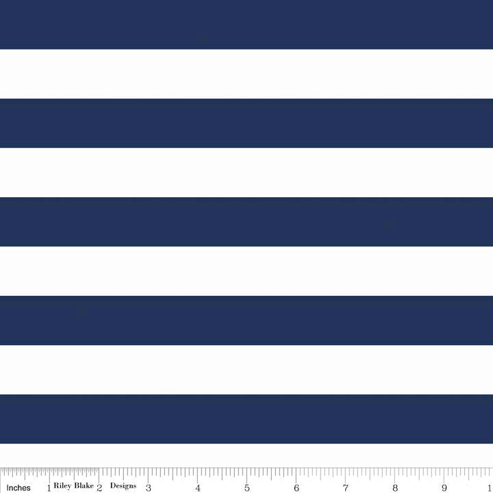 "SALE Navy and White 1"" One Inch Stripe by Riley Blake Designs - Jersey KNIT cotton lycra spandex stretch fabric"