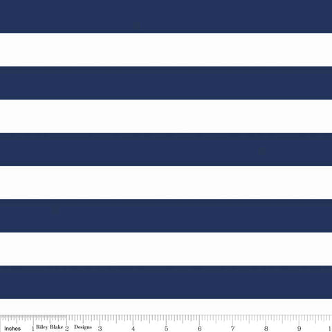"Navy and White 1"" One Inch Stripe by Riley Blake Designs - Jersey KNIT cotton lycra spandex stretch fabric"