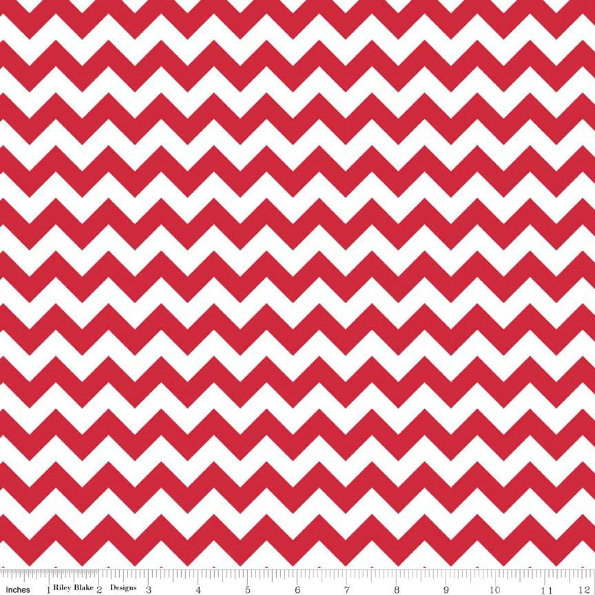 SALE Small Chevron Red by Riley Blake Designs - Jersey KNIT cotton lycra spandex stretch fabric - choose your cut
