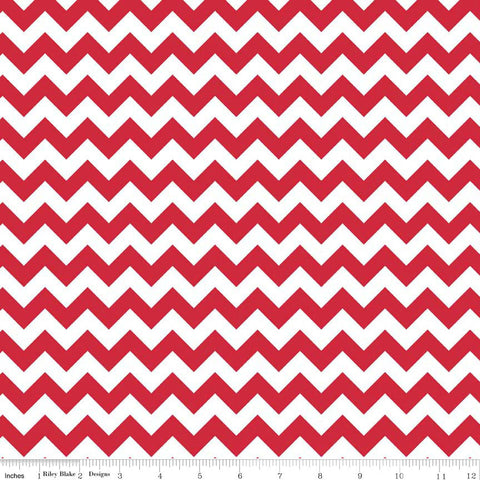 CLEARANCE Small Chevron Red by Riley Blake Designs - Jersey KNIT cotton lycra spandex stretch fabric - by the yard