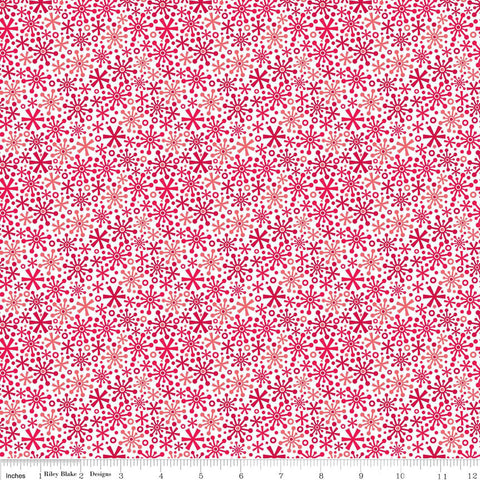 Christmas Holiday Snow Flakes Red - Riley Blake Designs - Jersey KNIT cotton lycra spandex stretch fabric - choose your cut