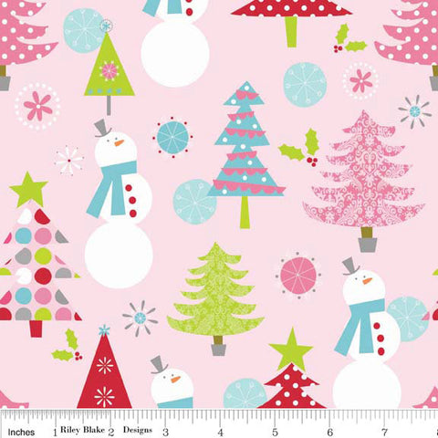 Christmas Main Pink by Riley Blake Designs - Snowmen Tree - Jersey KNIT cotton lycra spandex stretch fabric - by the yard half quarter