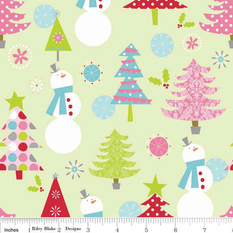Christmas Main Lime Green - Riley Blake Designs - Snowman - Jersey KNIT cotton lycra spandex stretch fabric - by the yard half quarter