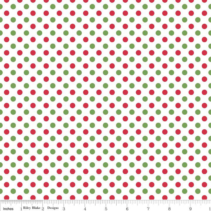 Christmas Small Dots - Riley Blake Designs - Red Green - Jersey KNIT cotton lycra spandex stretch fabric - by the yard half quarter