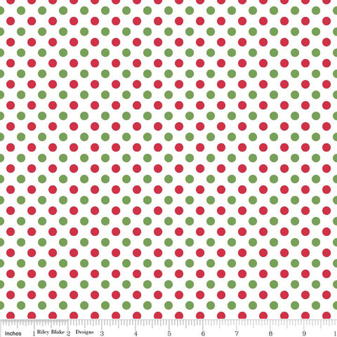 SALE Christmas Small Dots - Riley Blake Designs - Red Green - Jersey KNIT cotton lycra spandex stretch fabric - by the yard half quarter