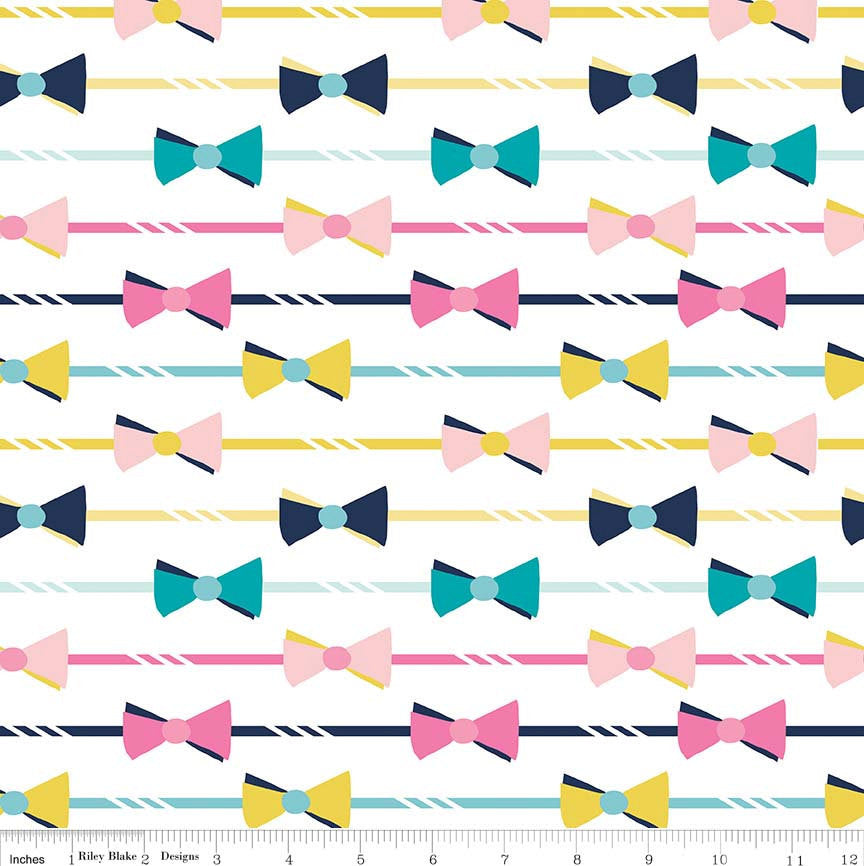 SALE Derby Style Main on White Bows by Riley Blake Designs - Bowtie Pink Blue - Quilting Cotton Fabric - choose your cut