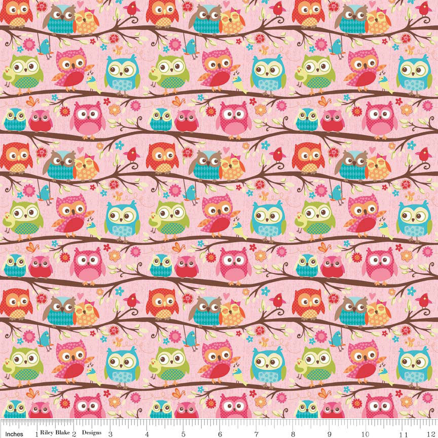 Happy Flappers Owls Pink - Riley Blake Designs - Birds - Quilting Cotton Fabric - fat quarter