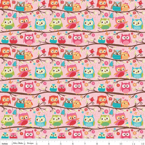 CLEARANCE Happy Flappers Owls Pink - Riley Blake Designs - Birds - Quilting Cotton Fabric - fat quarter