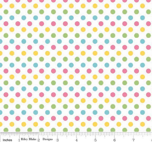 SALE Small Dots Girl by Riley Blake Designs - Polka Dots - Pastel - Quilting Cotton Fabric