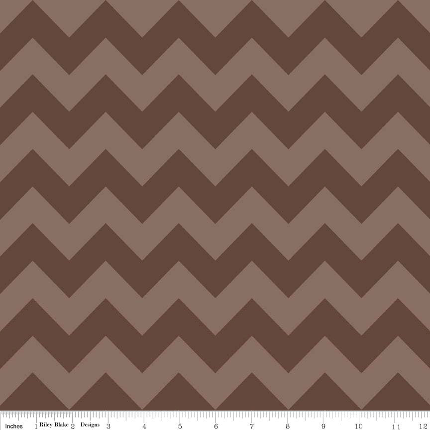 SALE Brown Tone on Tone Medium Chevron by Riley Blake Designs - Quilting Cotton Fabric