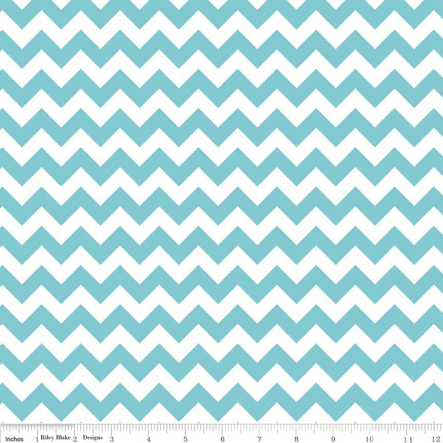 SALE Small Chevron Aqua and White by Riley Blake Designs - Jersey KNIT cotton lycra fabric - end of bolt pieces