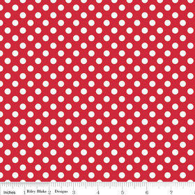 SALE White on Red Small Dot by Riley Blake Designs - polka dots - Quilting Cotton Fabric