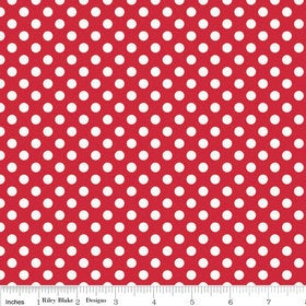 7.50 SUPER SALE White on Red Small Dot by Riley Blake Designs - polka dots - Quilting Cotton Fabric - by the yard