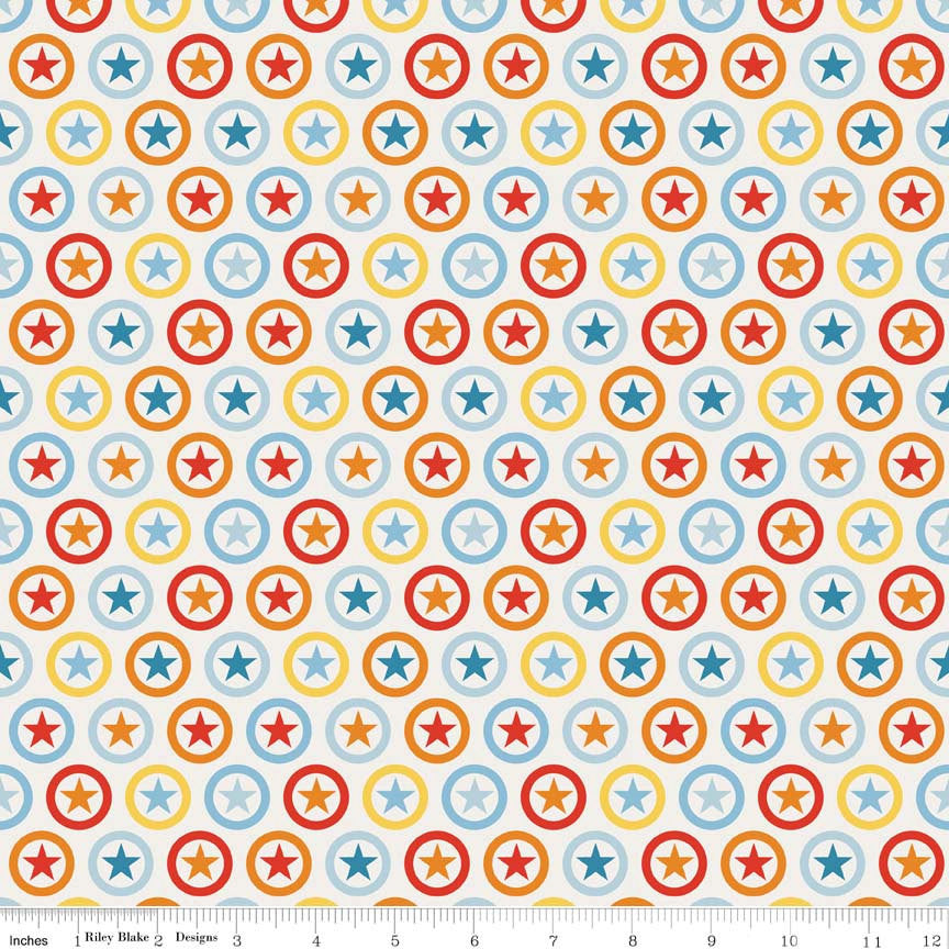 SALE Lucky Star Circle Cream by Riley Blake Designs - polka dots - Jersey KNIT cotton lycra spandex stretch fabric - choose your cut