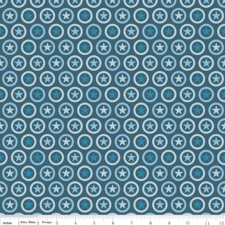 SALE Lucky Star Circle Navy - Riley Blake Designs - Patriotic Dot- Jersey KNIT cotton lycra spandex stretch fabric - choose your cut