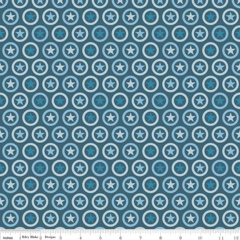 Lucky Star Circle Navy - Riley Blake Designs - Patriotic Dot- Jersey KNIT cotton lycra spandex stretch fabric - choose your cut