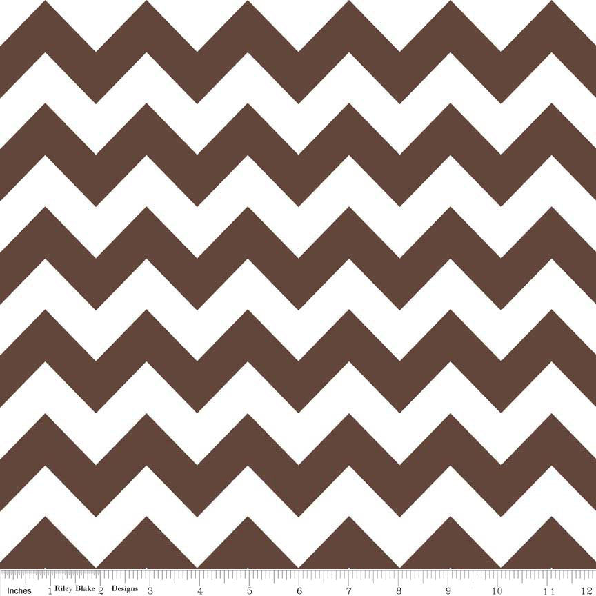 Brown and White Medium Chevron by Riley Blake Designs - C320-90 - Quilting Cotton Fabric