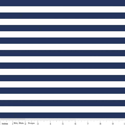"SALE Navy White 1/2"" Half Inch Stripe by Riley Blake Designs - Jersey KNIT cotton lycra stretch fabric"