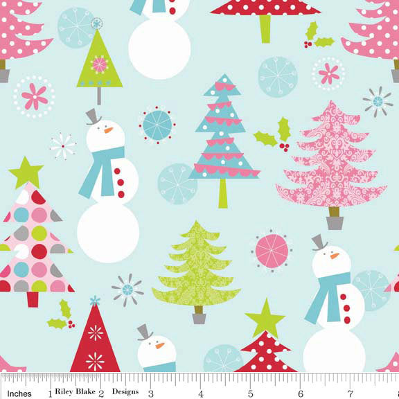 Christmas Basics Main Blue by Riley Blake Designs - Tree Snowman Pink - Quilting Cotton Fabric - choose your cut