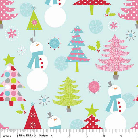 Christmas Basics Main Blue by Riley Blake Designs - Tree Snowman Pink - Quilting Cotton Fabric