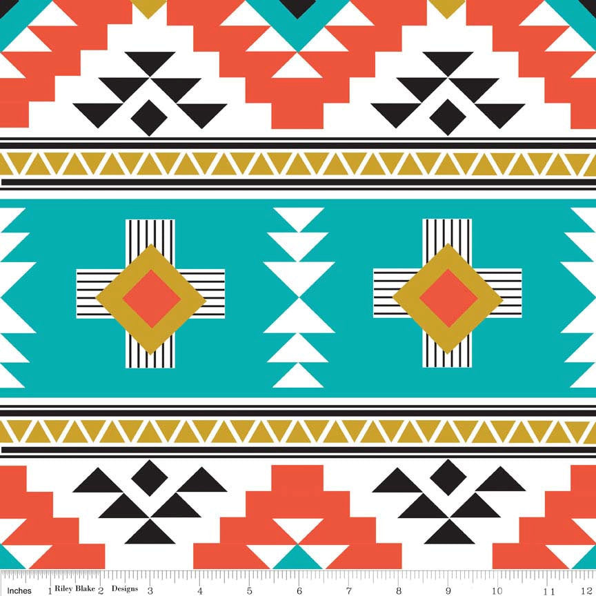 SALE Four Corners Main Teal by Riley Blake Designs - Aztec - Jersey KNIT cotton lycra stretch fabric - choose your cut