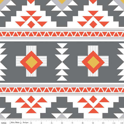 CLEARANCE Four Corners Main Gray by Riley Blake Designs - Aztec Orange White - Jersey KNIT cotton lycra stretch fabric - by the yard