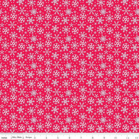 SALE Santa Express Santa Snowflake Red by Riley Blake Designs - Christmas Holiday - Cotton FLANNEL Fabric - fat quarter