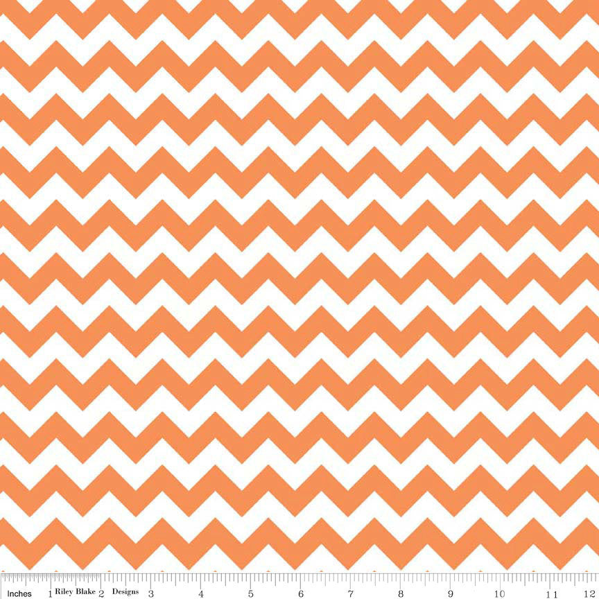 SALE Small Chevron Orange and White - Riley Blake Designs - Jersey KNIT cotton lycra spandex stretch fabric