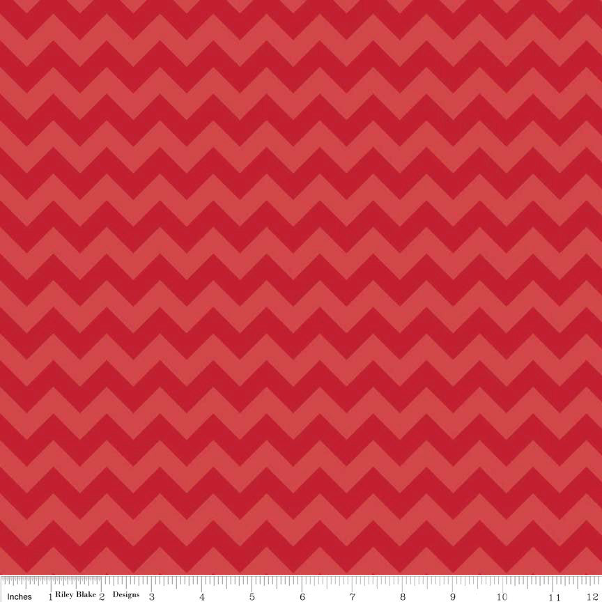 Small Chevron Tone on Tone Red by Riley Blake Designs - Jersey KNIT cotton lycra spandex stretch fabric - choose your cut