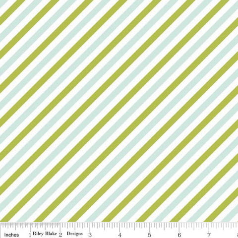 CLEARANCE Oh Boy Stripes Aqua by Lori Whitlock for Riley Blake Designs - Green Blue - Cotton FLANNEL Fabric - choose your cut
