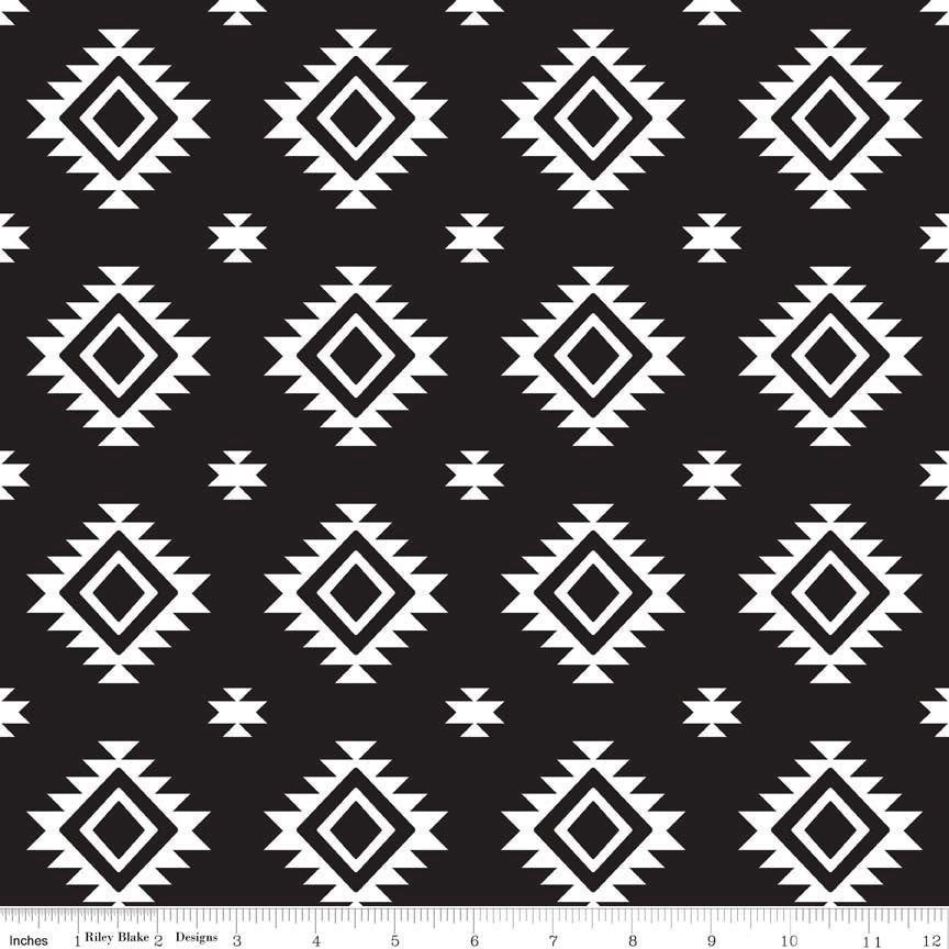 Aztec Black by Riley Blake Designs - Black and white - Jersey KNIT cotton lycra spandex stretch fabric